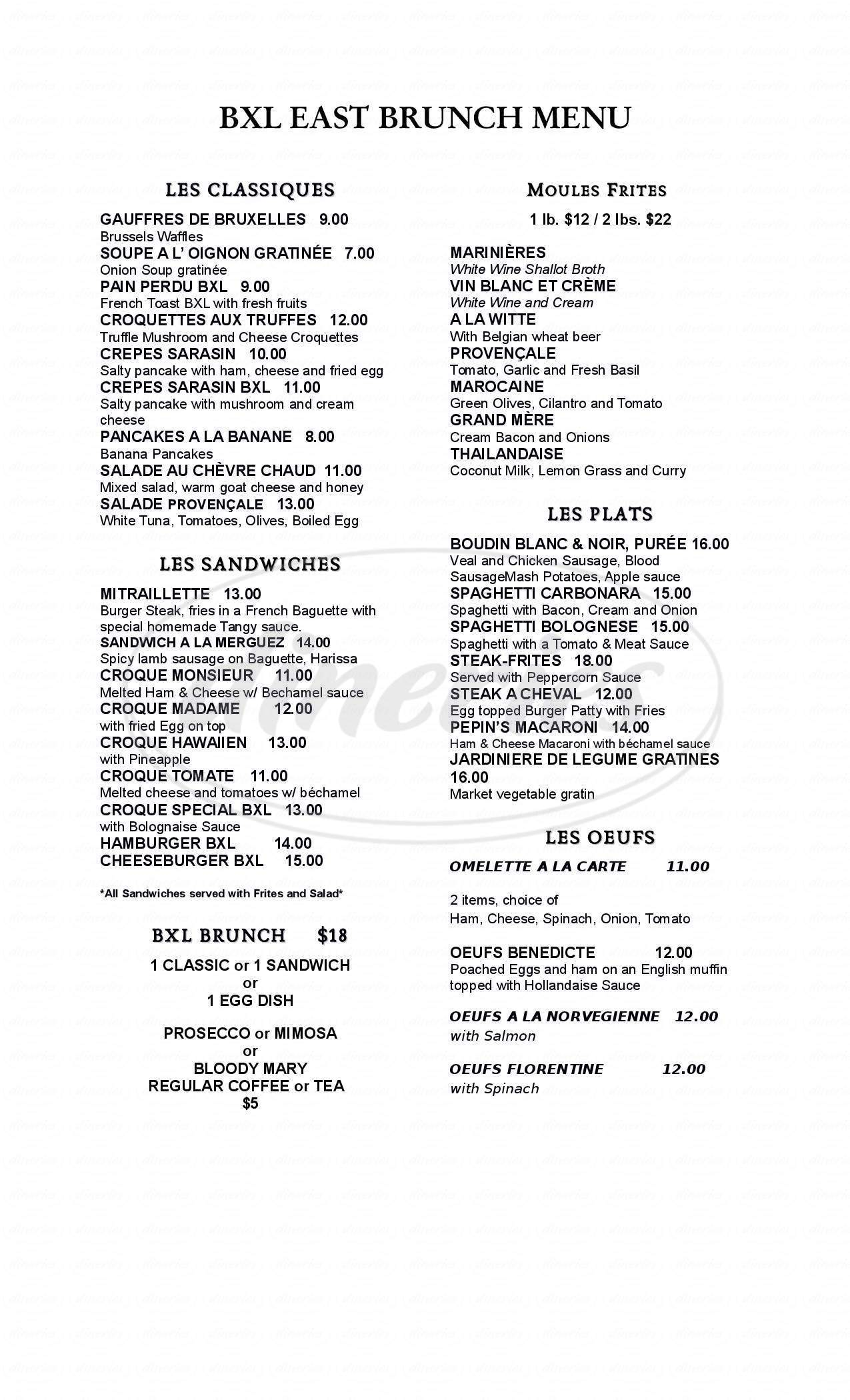 menu for BXL East