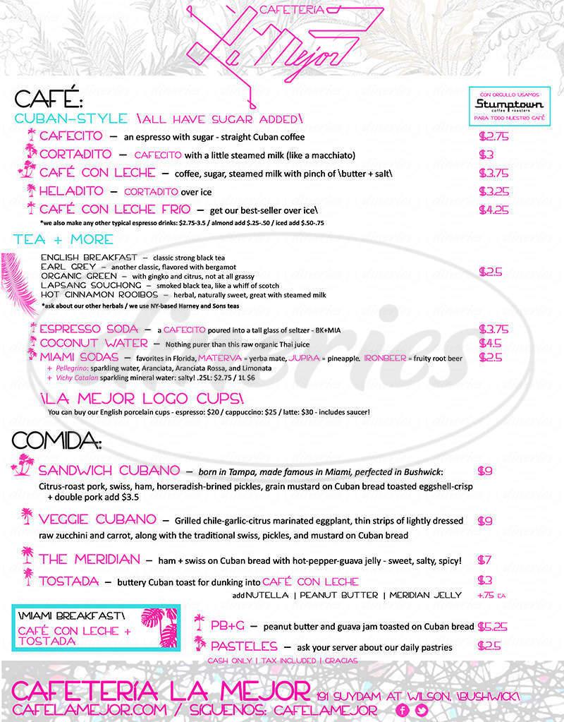 menu for Cafetería La Mejor