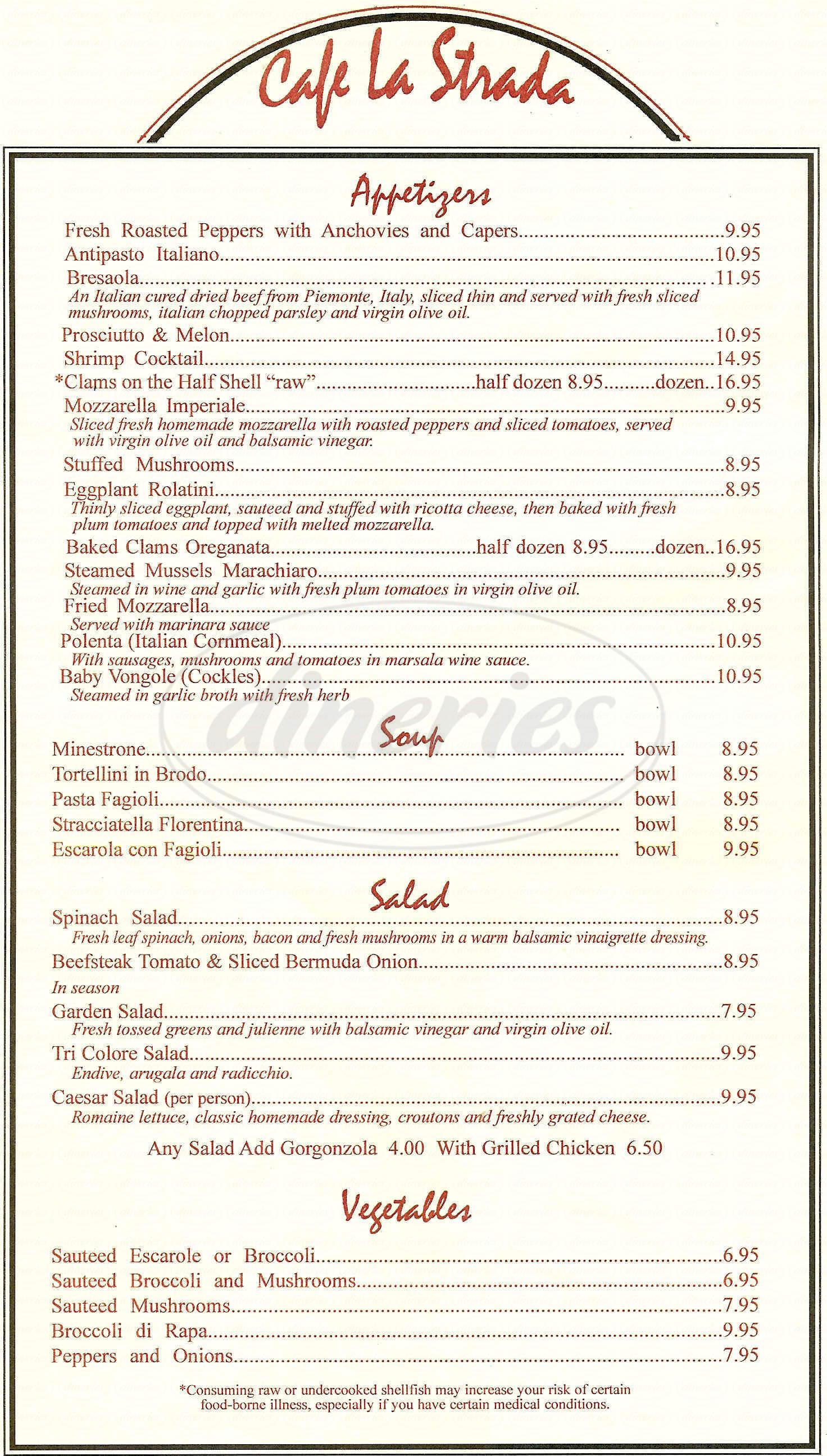 menu for Cafe La Strada