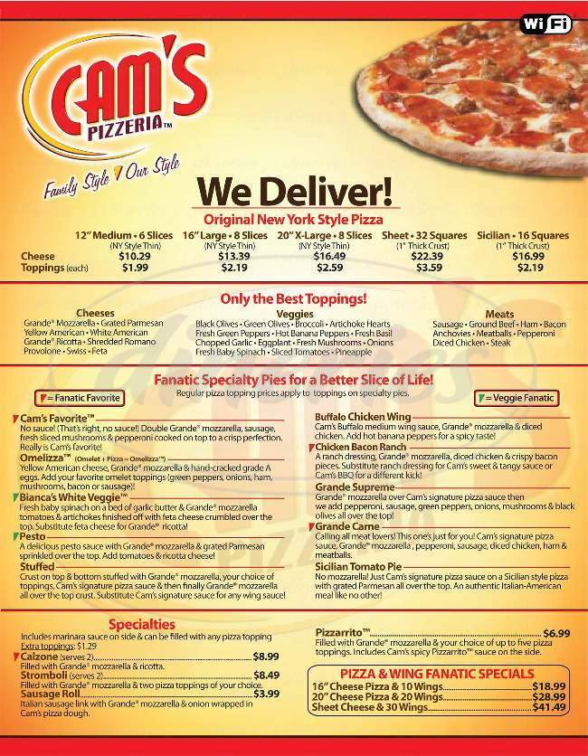 menu for Cams Pizzera