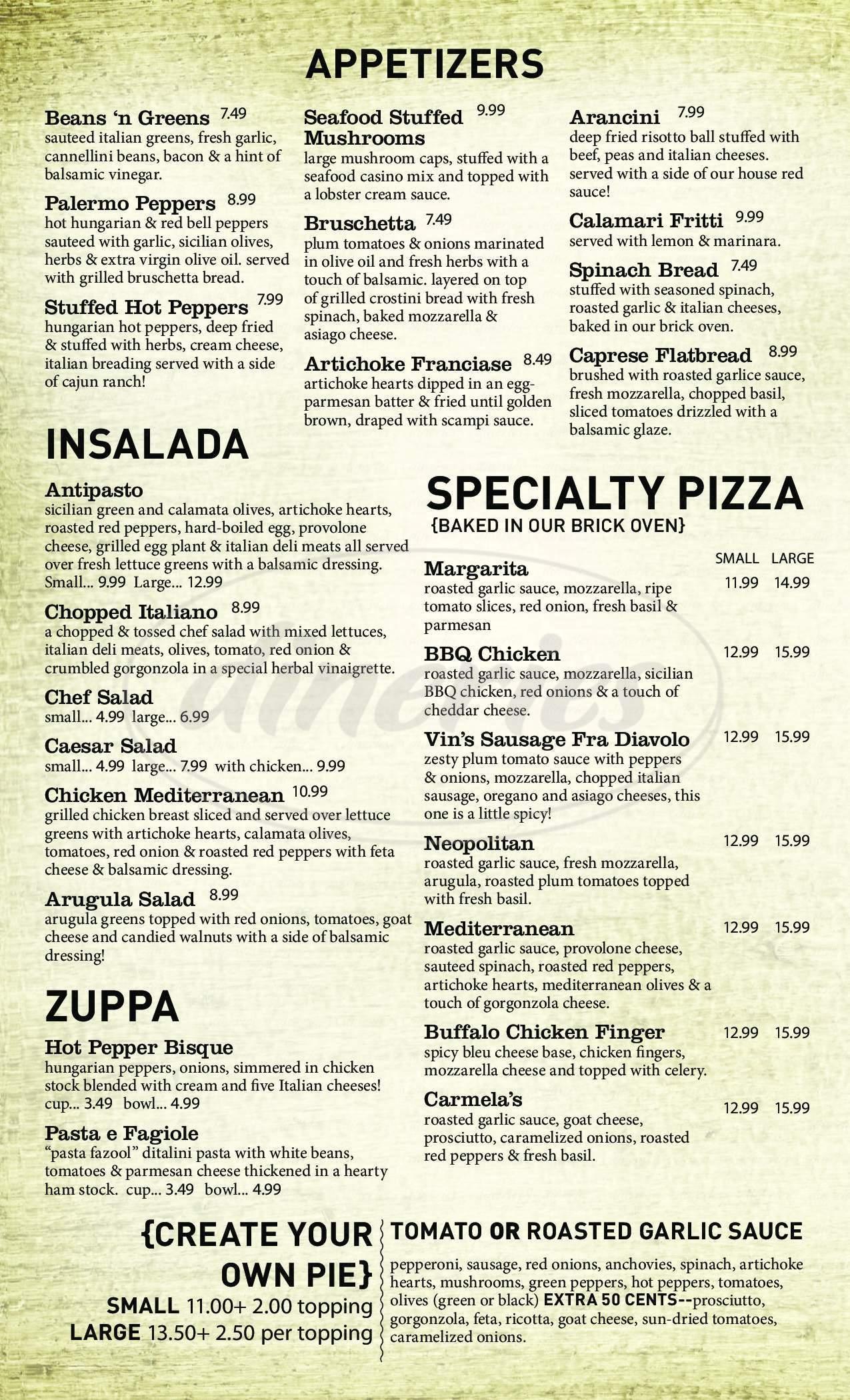 menu for Carmine's