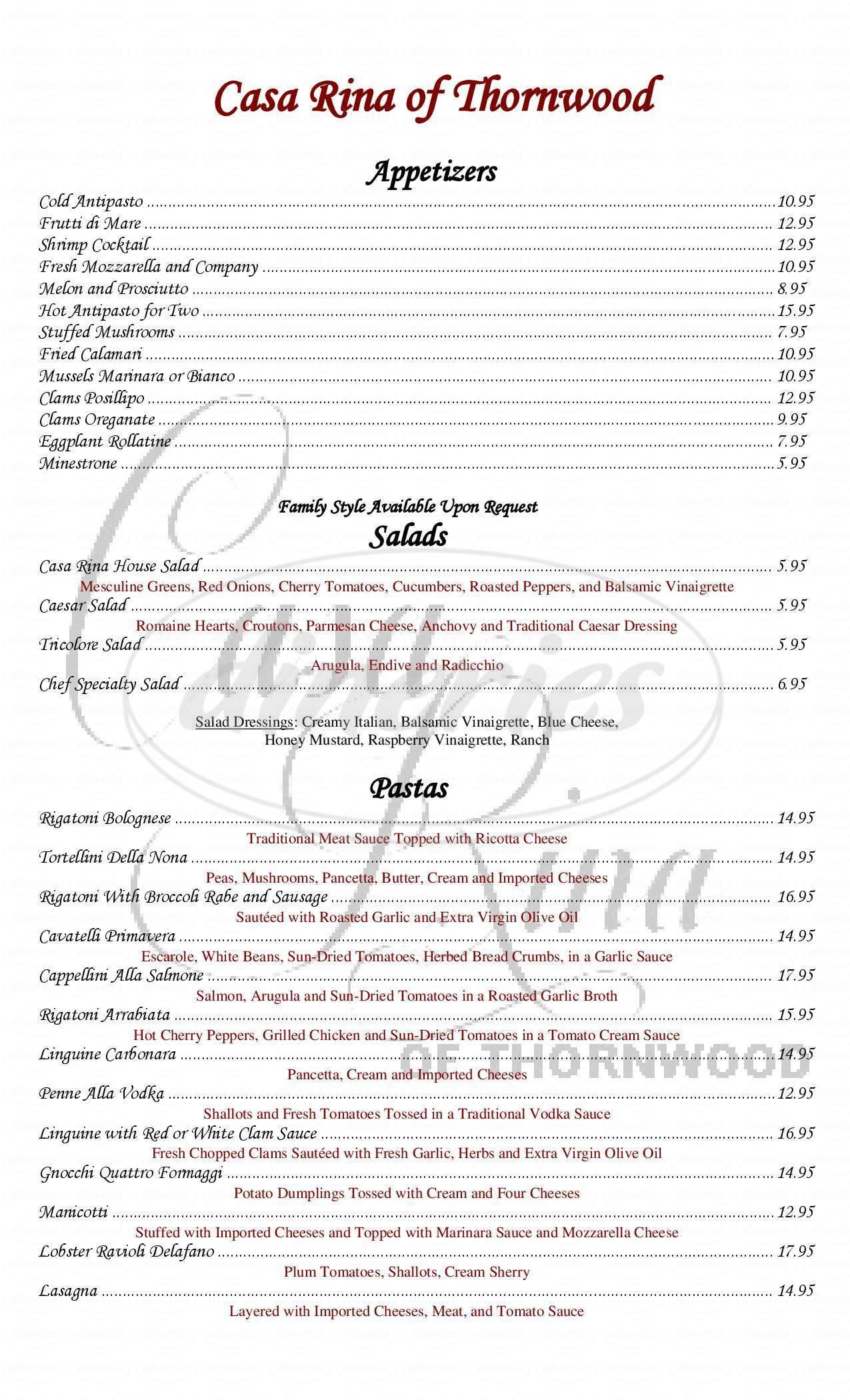 menu for Casa Rina