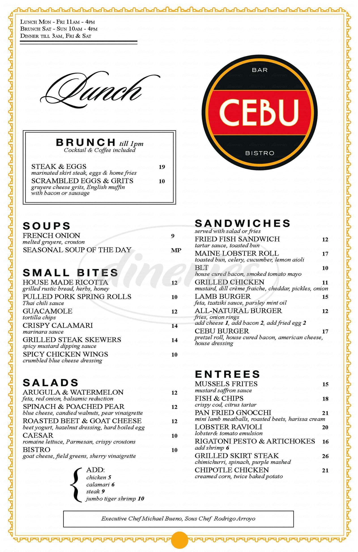 menu for Cebu Bar & Bistro