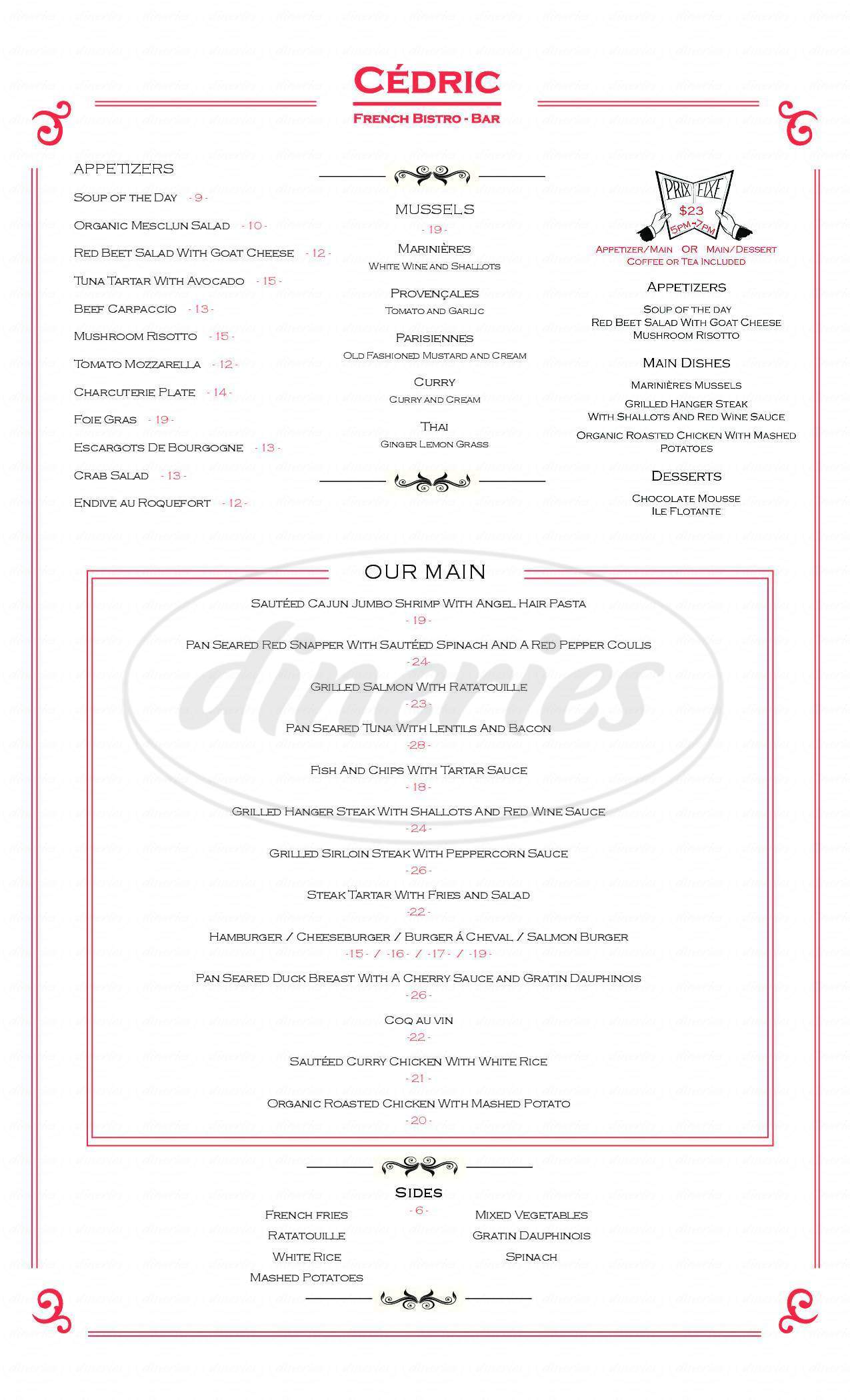 menu for Cedric French Bistro and Bar