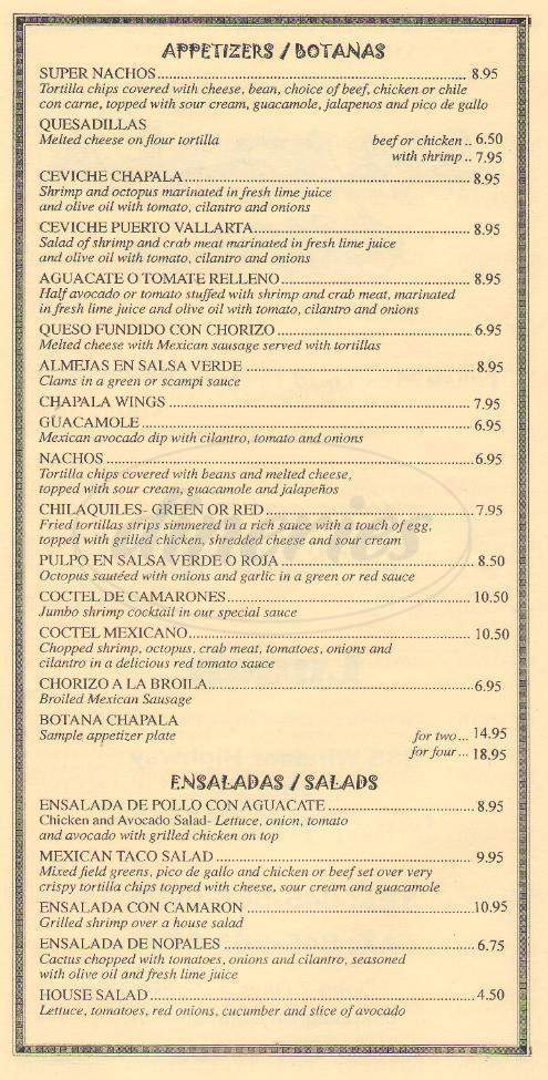 menu for Chapala Grill