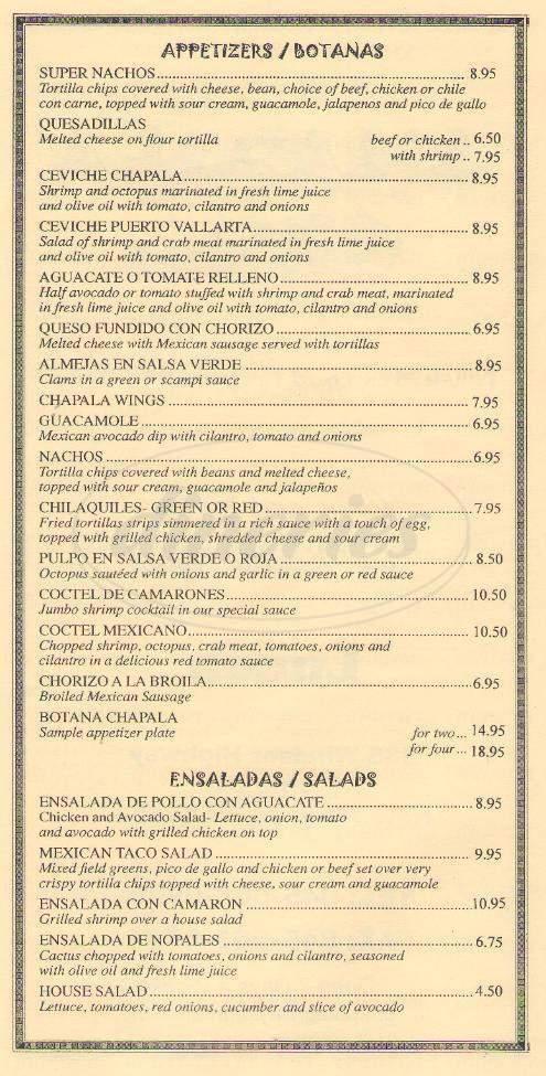 menu for Chapala Grill