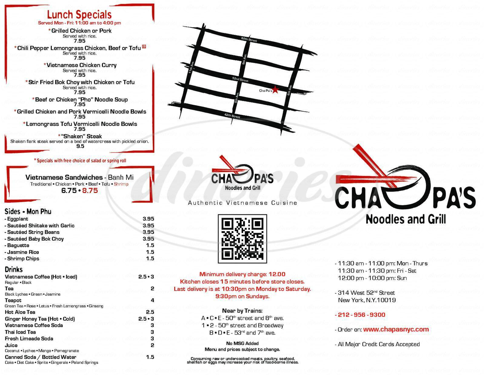 menu for Cha Pa's Noodles and Grill