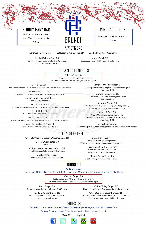 menu for City Hall Restaurant