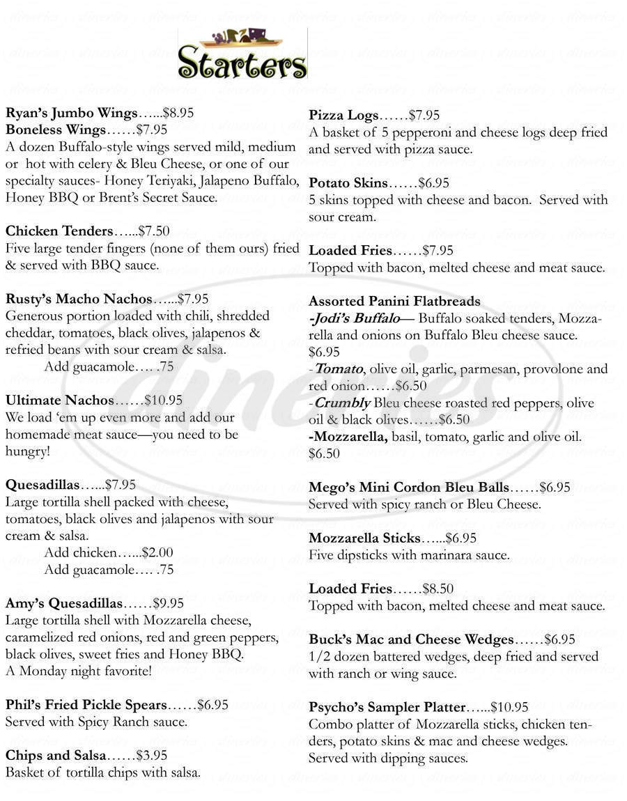 menu for CJ's Pub and Grill