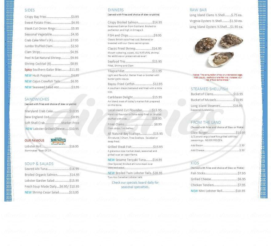 menu for CLAWS