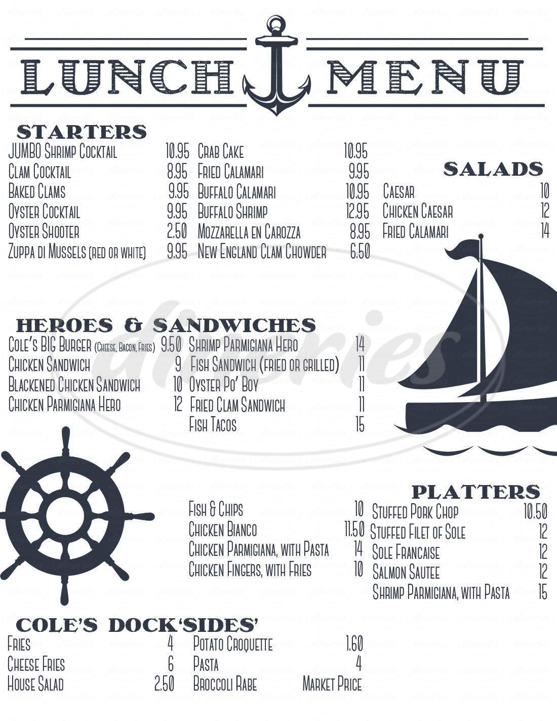 menu for Coles Dockside Restaurant