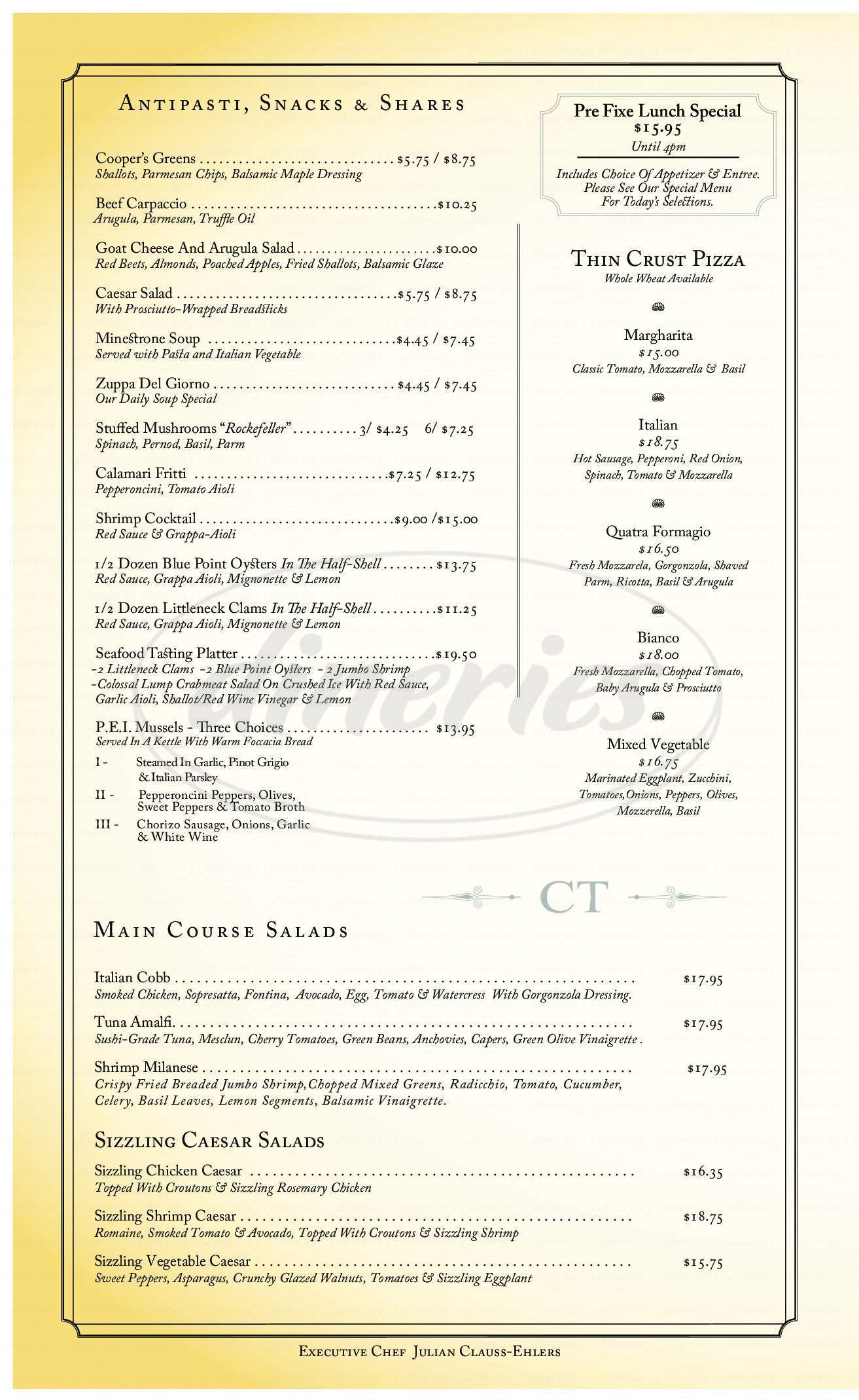 menu for Cooper's Tavern