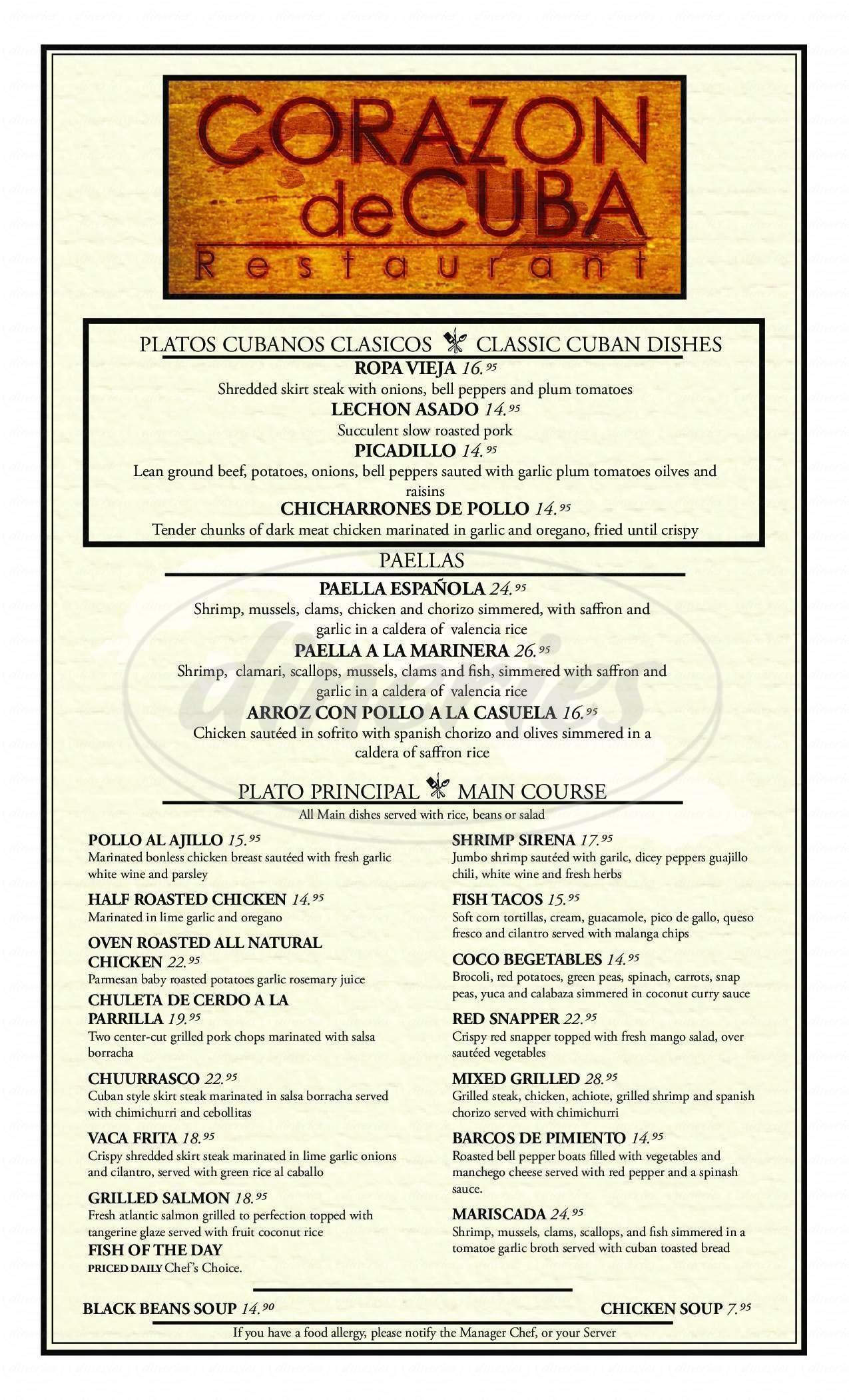 menu for Corazon de Cuba