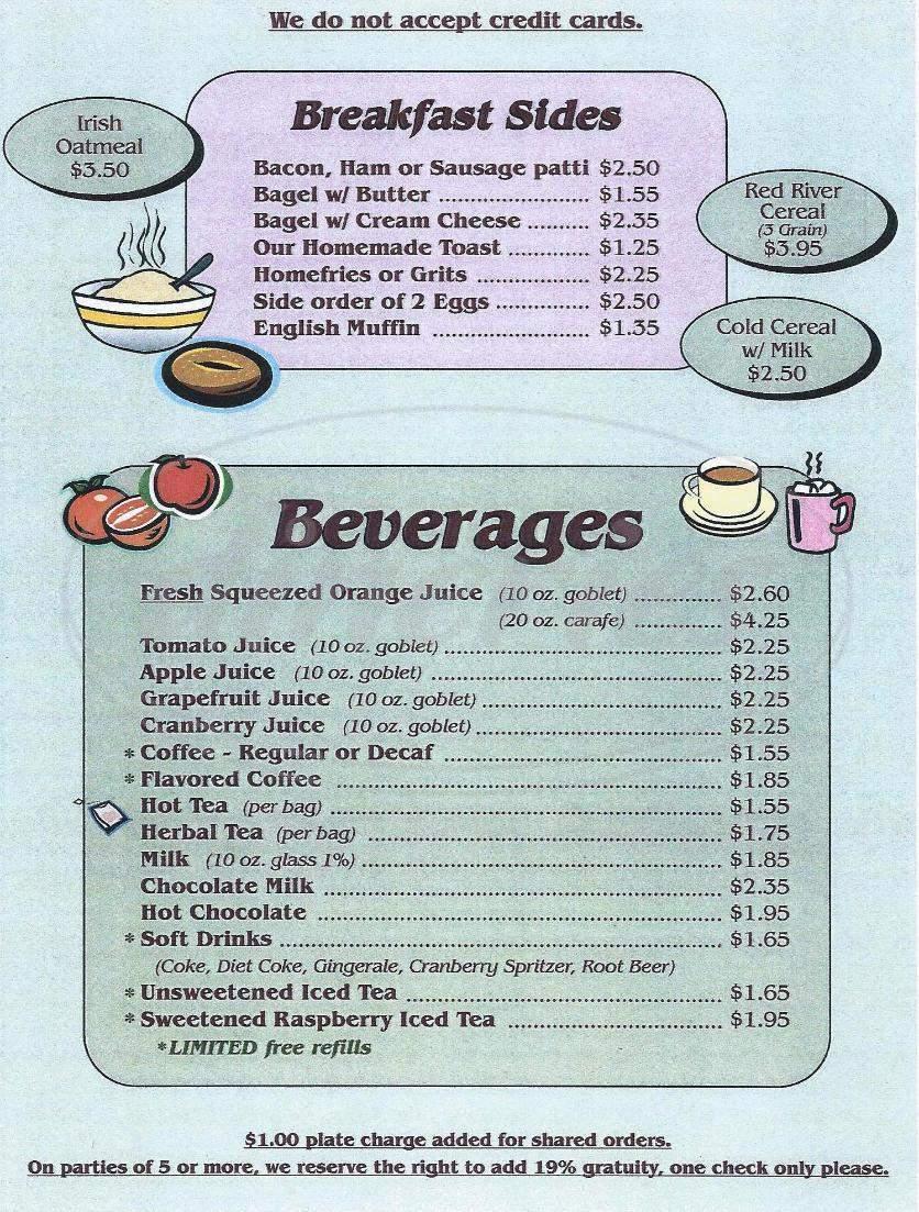 menu for Corbin's Cafe