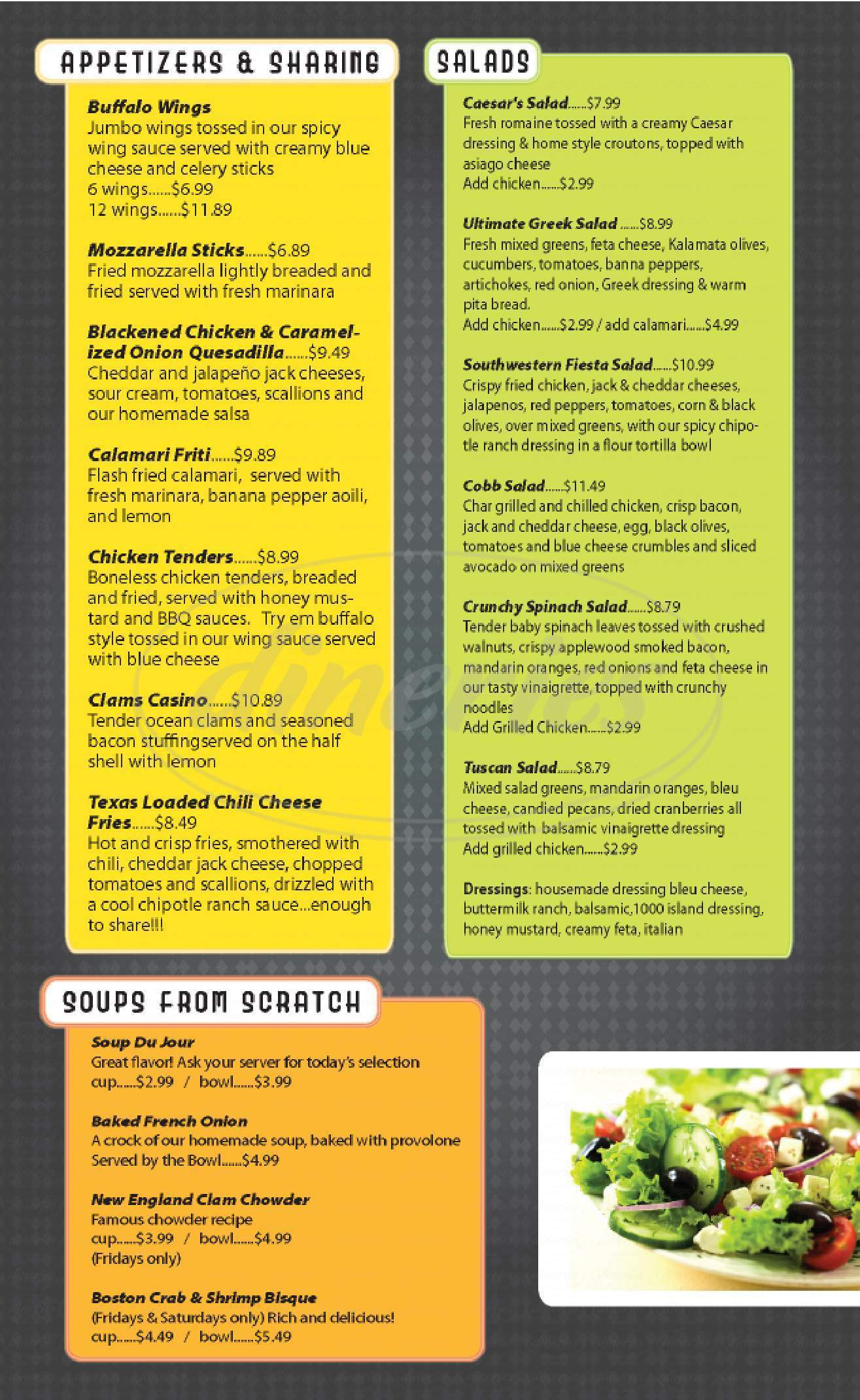 menu for Cornerstone Restaurant and Cafe
