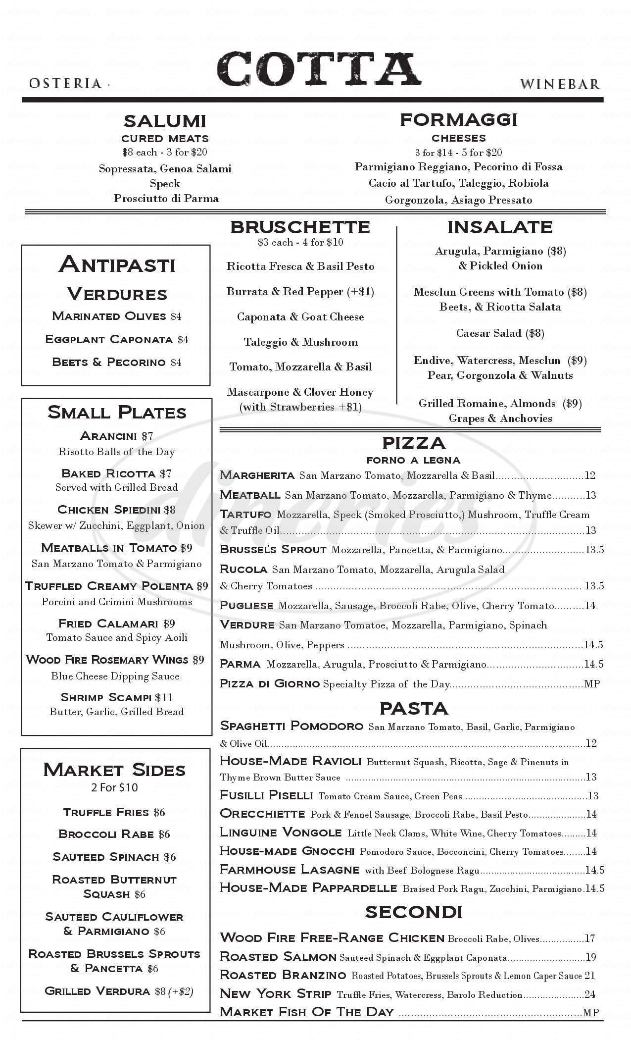 menu for Osteria Cotta