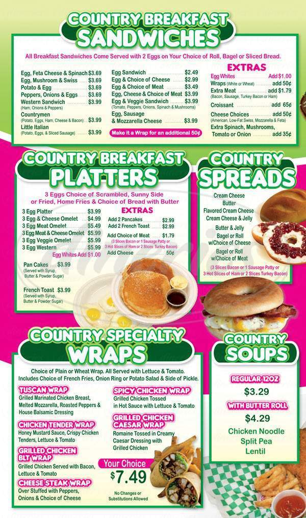 menu for Country Donuts Amboy