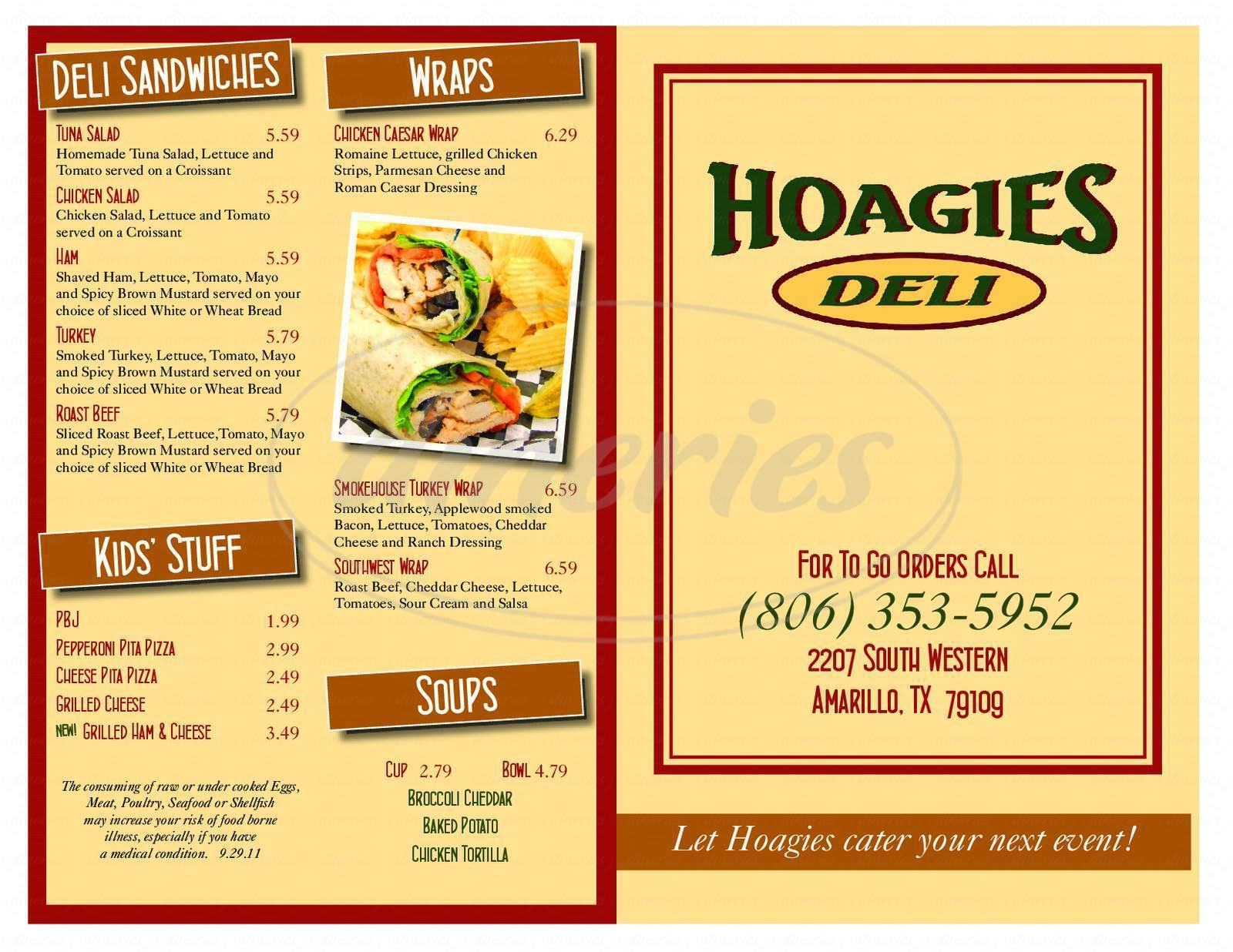 menu for Hoagie's Deli