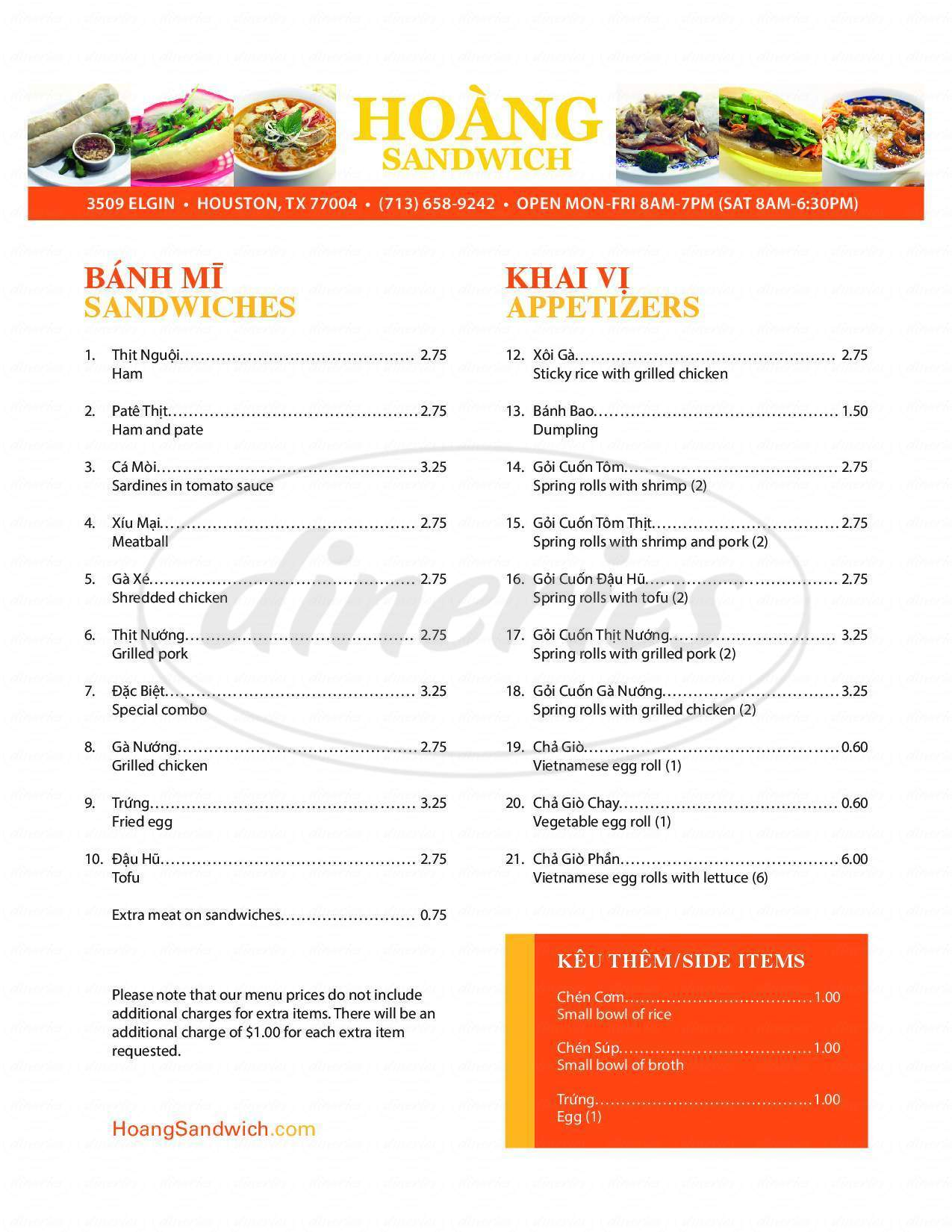 menu for Hoàng Sandwich