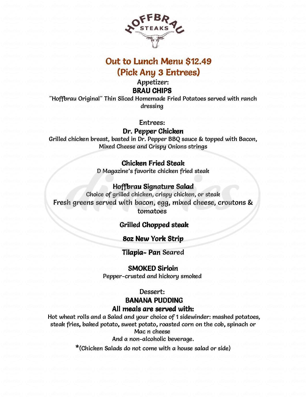 menu for Hoffbrau Steaks Steakhouse