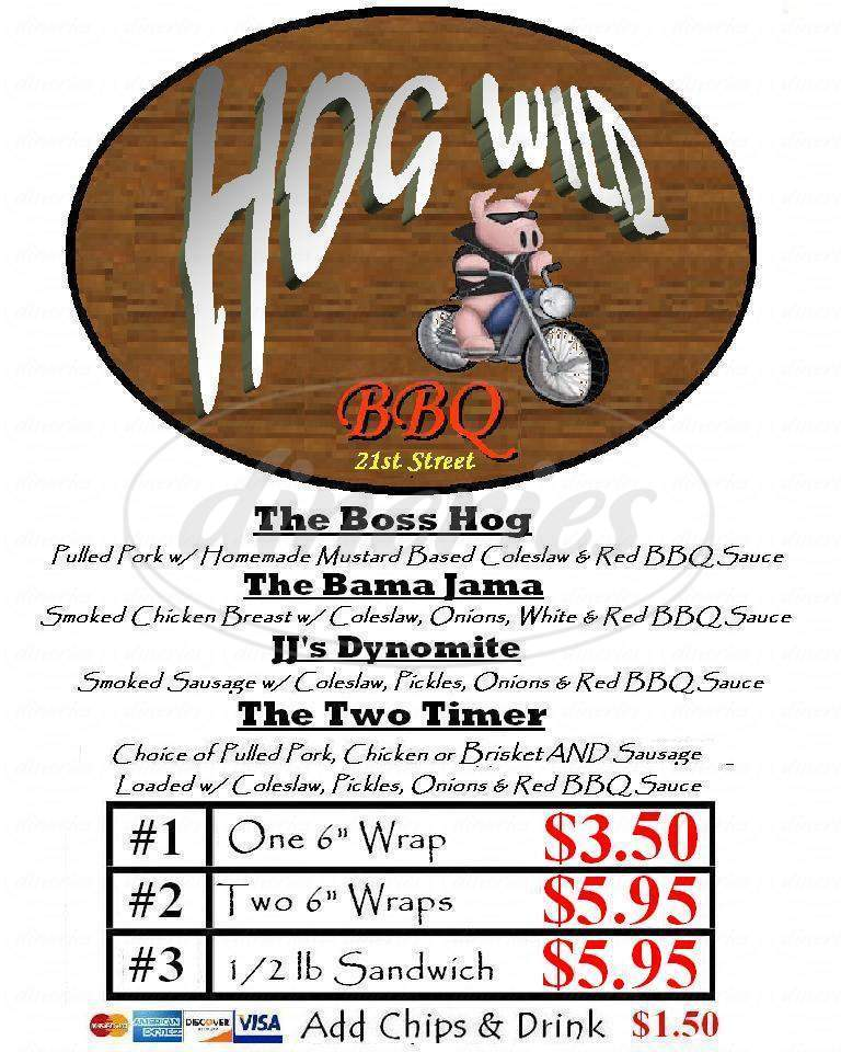 menu for Hog Wild BBQ