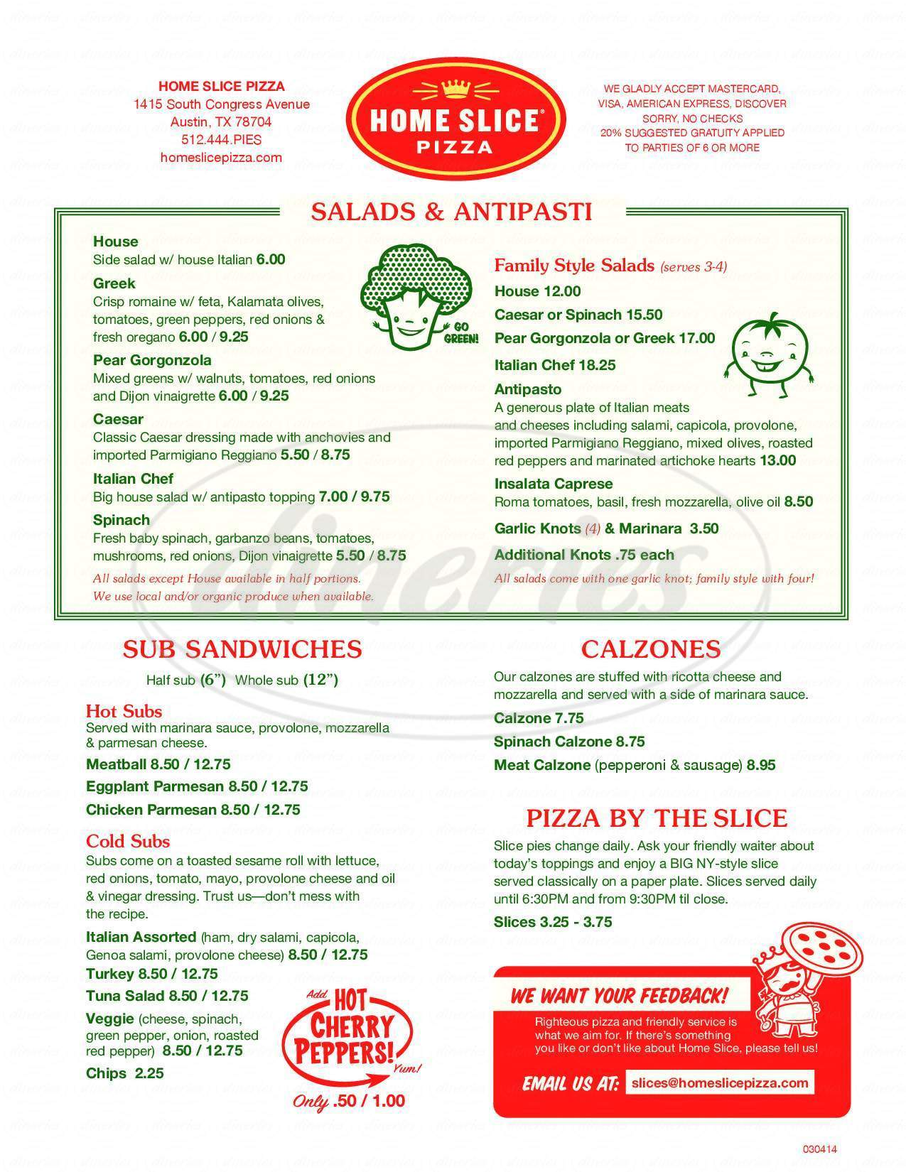 menu for Home Slice Pizza