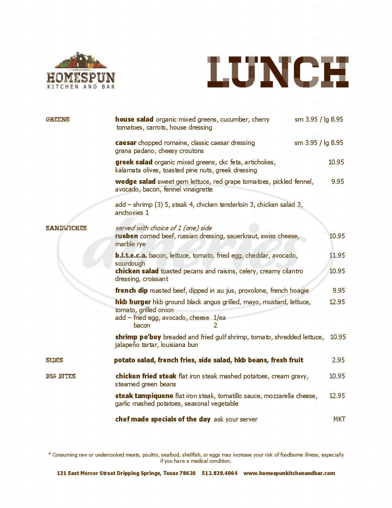 menu for Homespun Kitchen And Bar