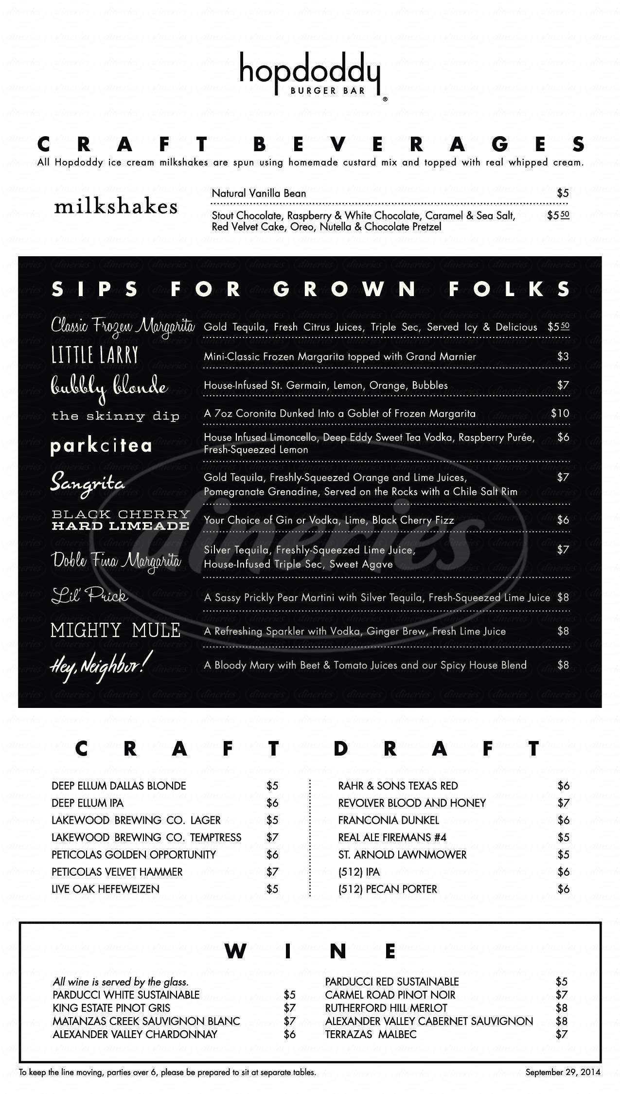 menu for Hopdoddy Burger Bar