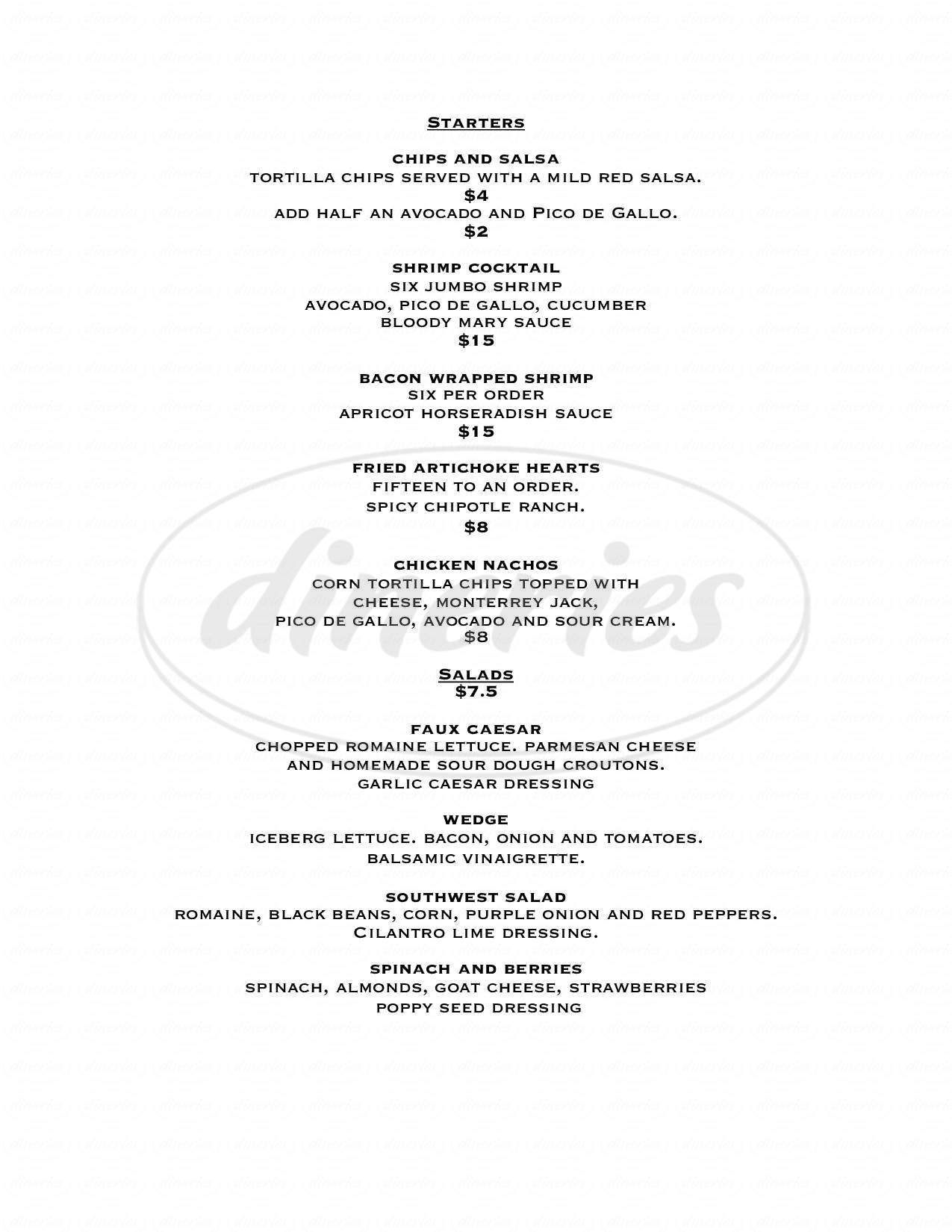 menu for Jett's Grill