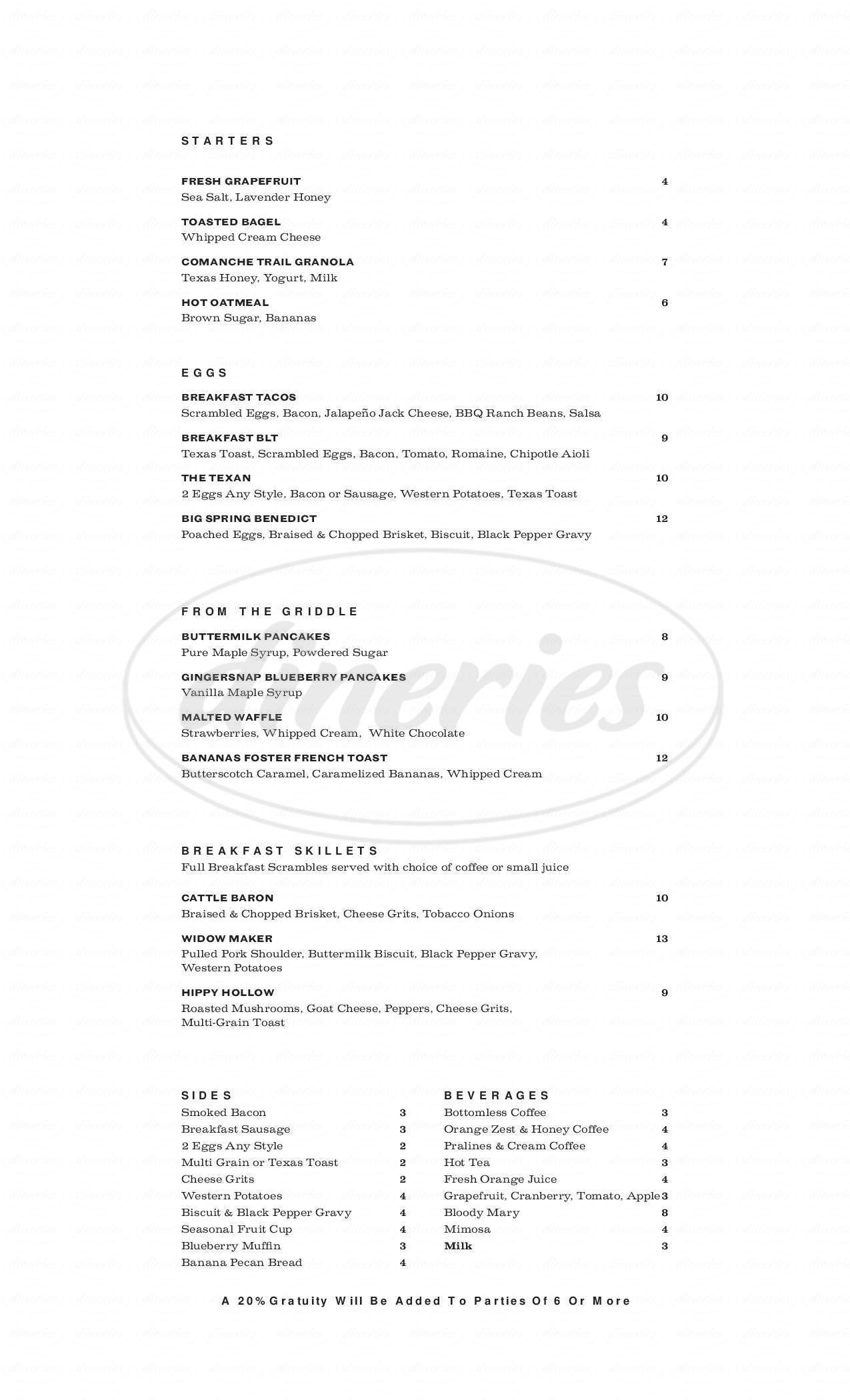 menu for Settles Grill