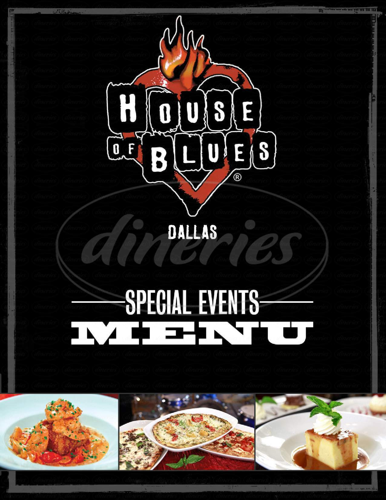 menu for House of Blues