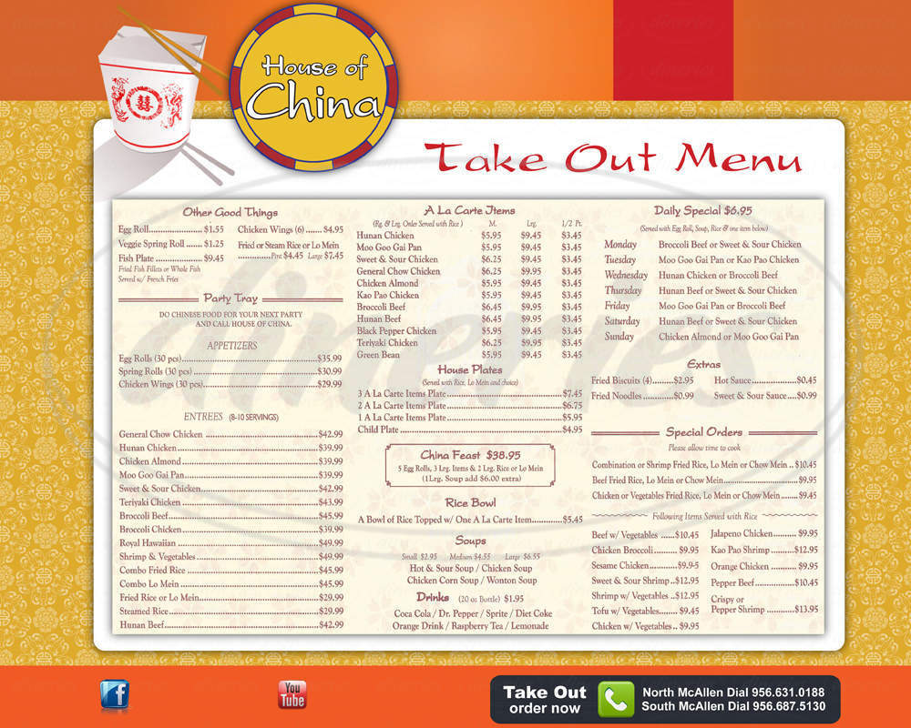 menu for House of China