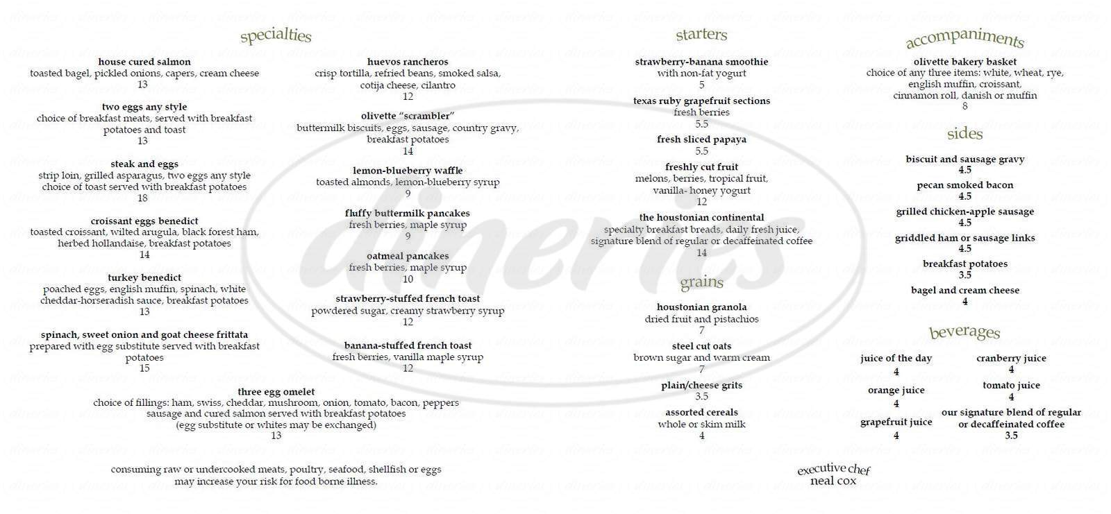 menu for The Houstonian Hotel, Club & Spa