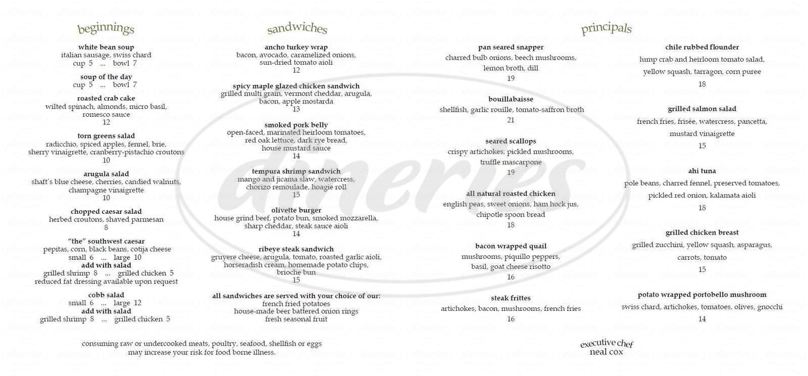 menu for The Houstonian Hotel, Club & Spa