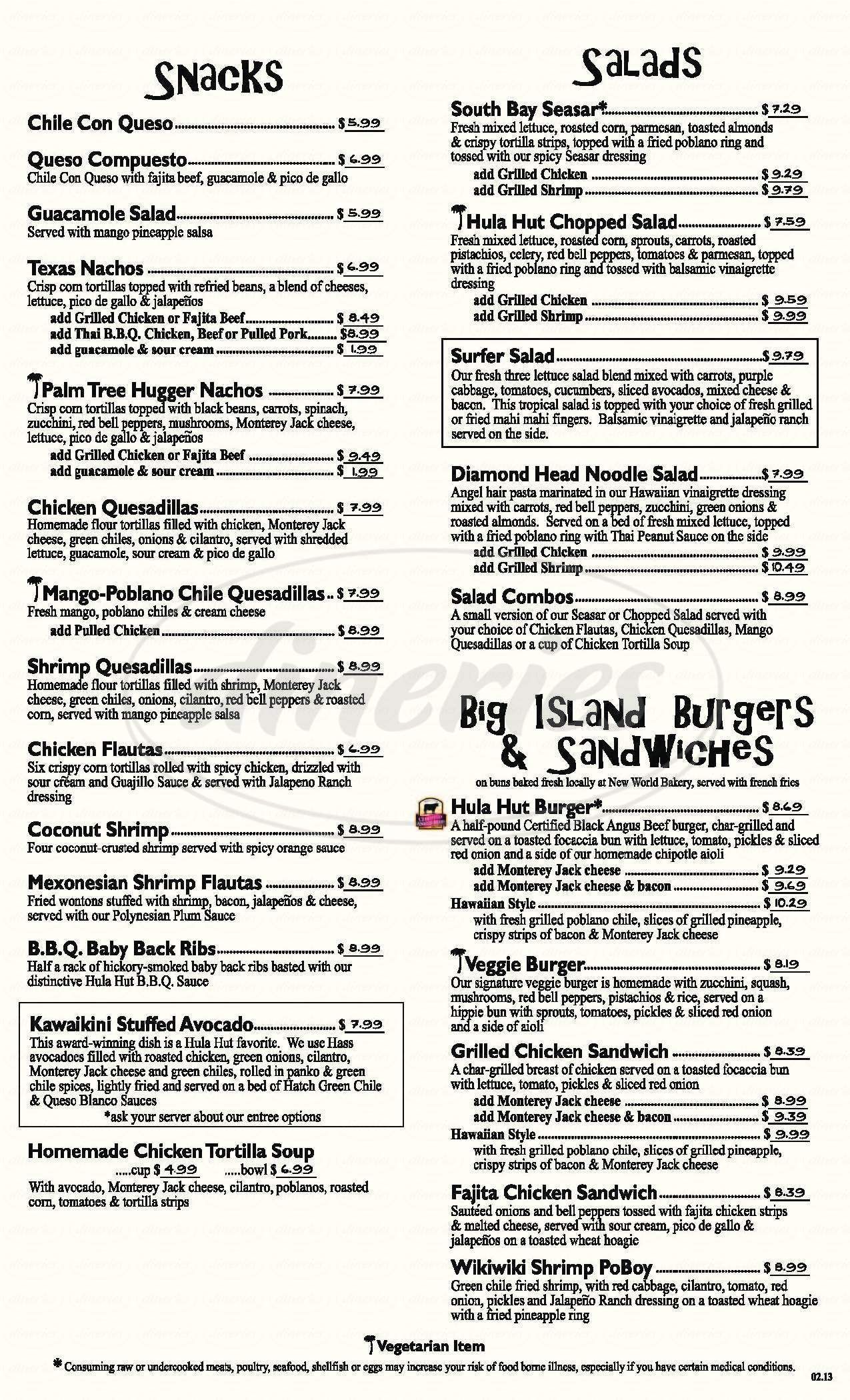 menu for Hula Hut