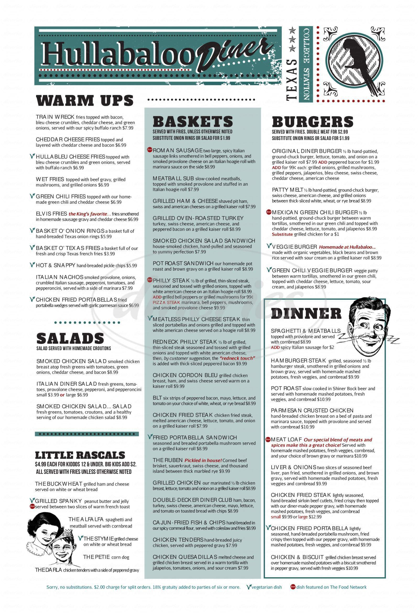 menu for Hullabaloo Diner