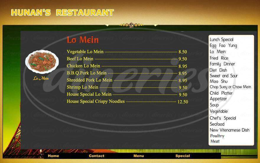 menu for Hunan's Restaurant