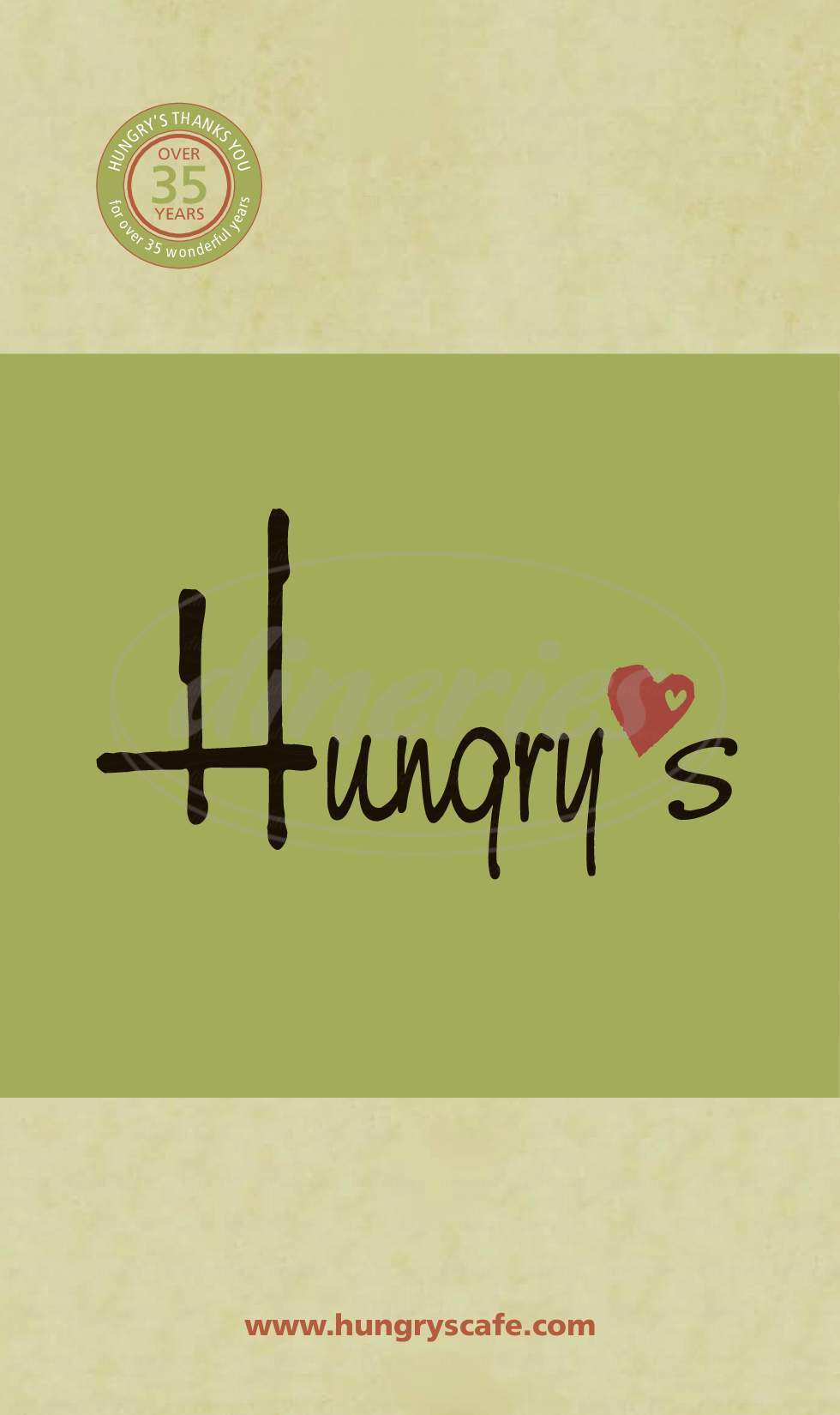 menu for Hungry's Café & Bistro