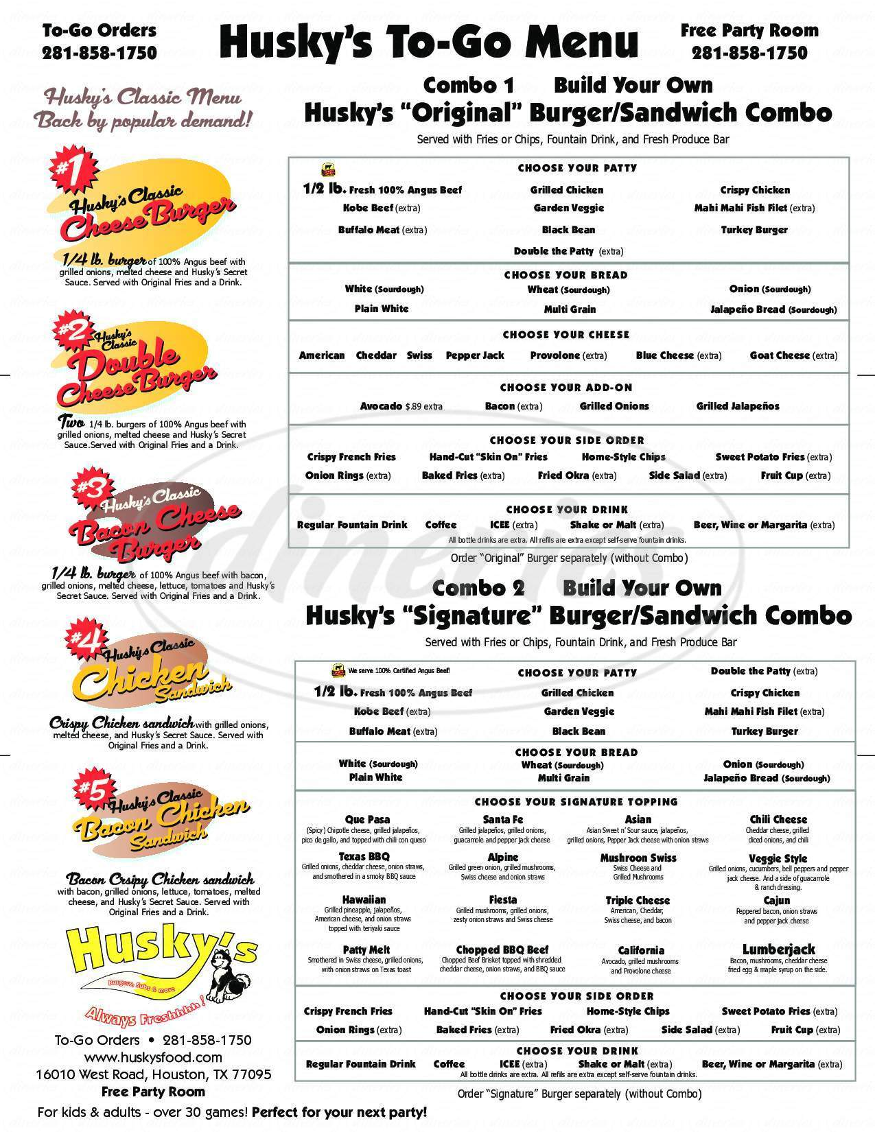 menu for Husky's Burgers