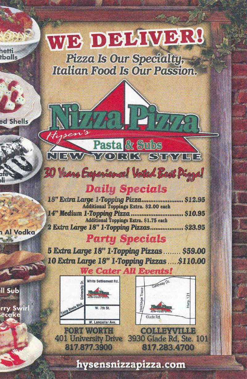 menu for Hysen's Nizza Pizza