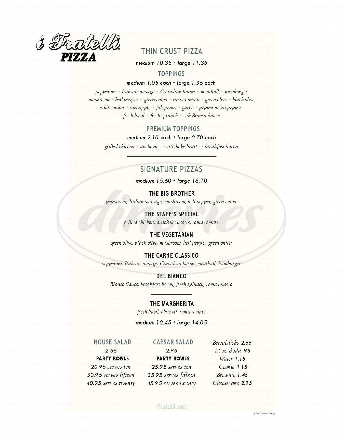 menu for I Fratelli Pizza