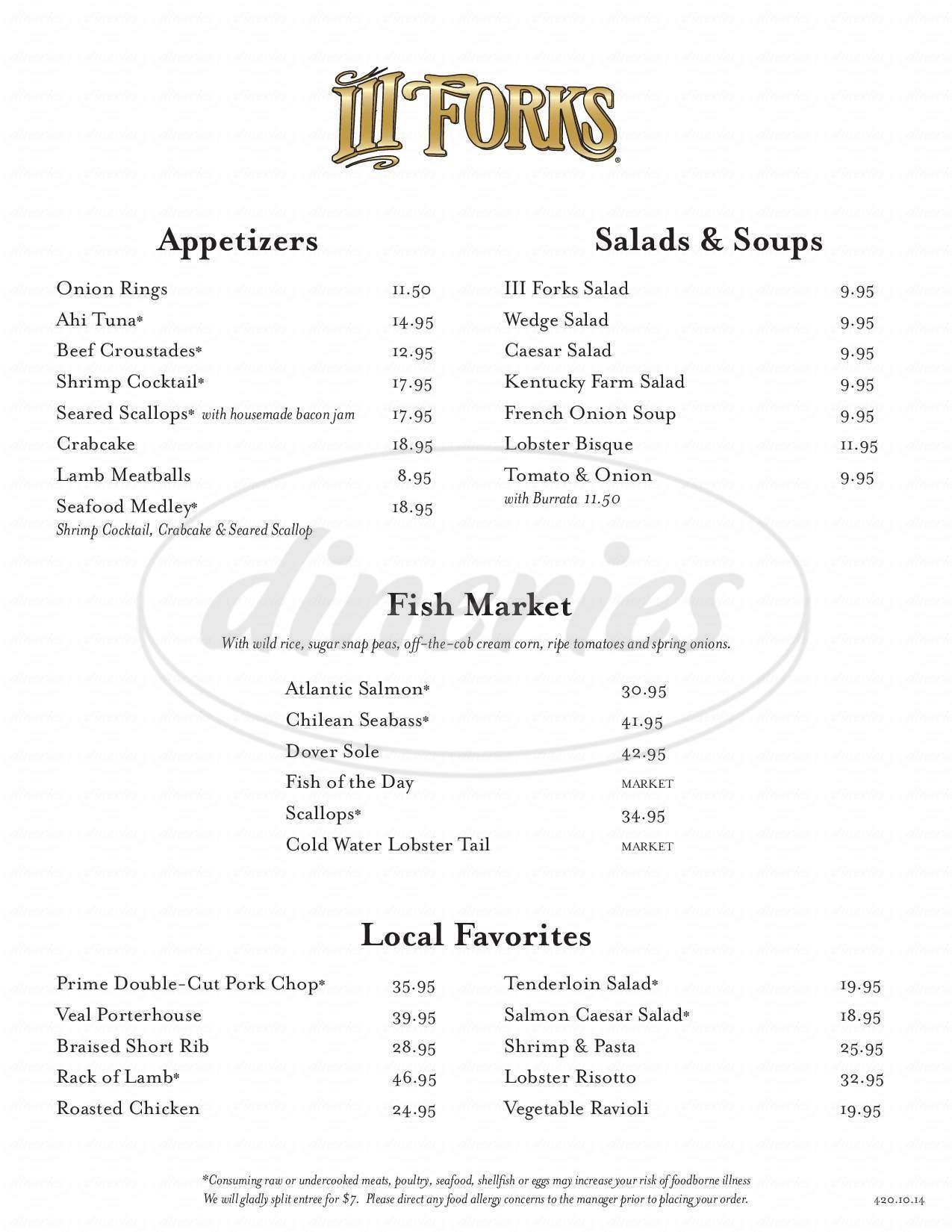 menu for Iii Forks