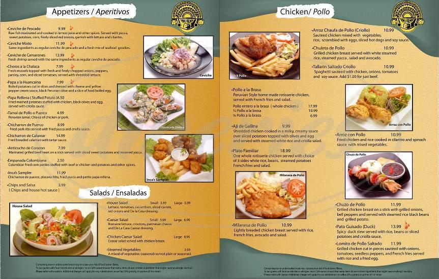 menu for Inca's Cafe