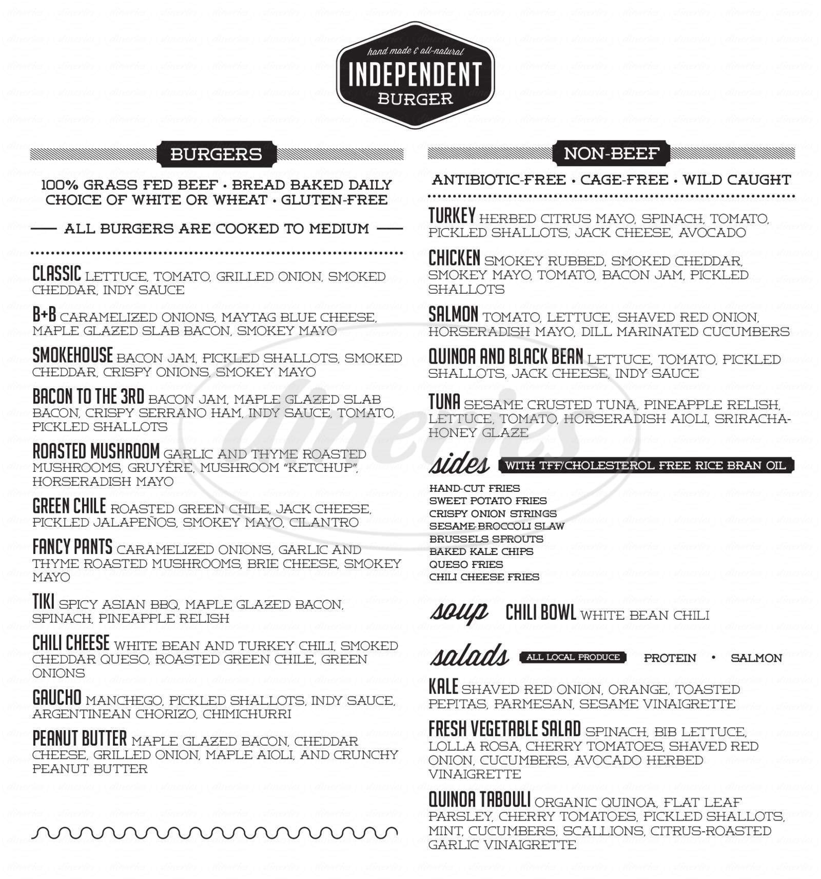menu for Independent Burger