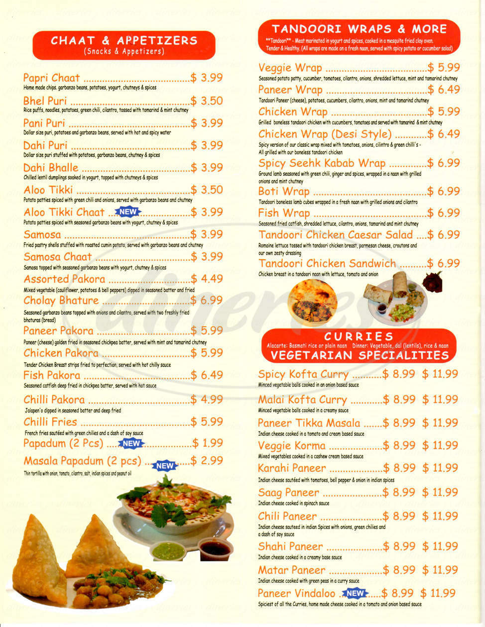 menu for India Chaat Cafe