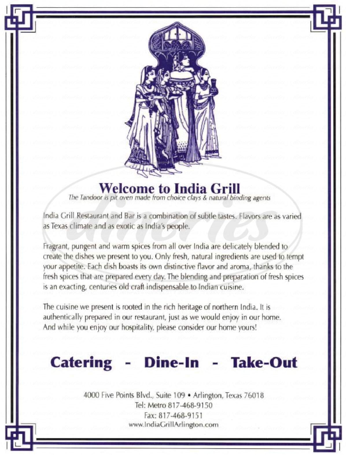 menu for India Grill