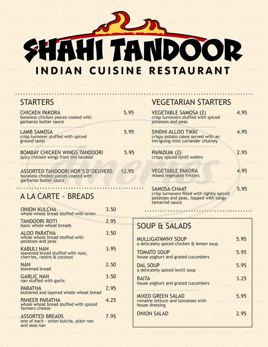 menu for Shahi Tandoor