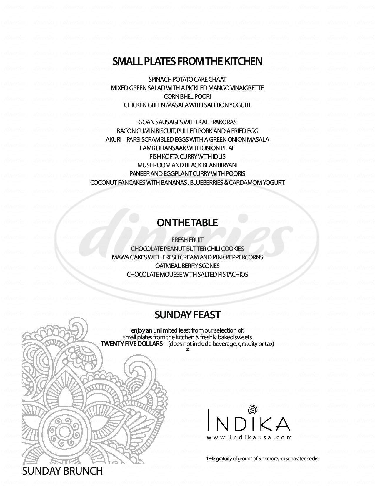 menu for Indika