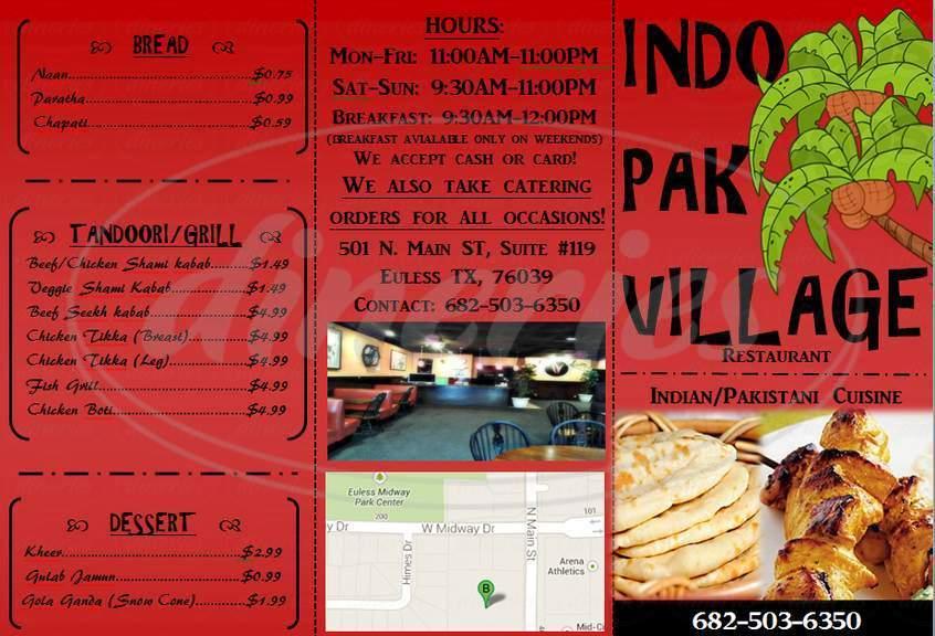 menu for Indo Pak Village