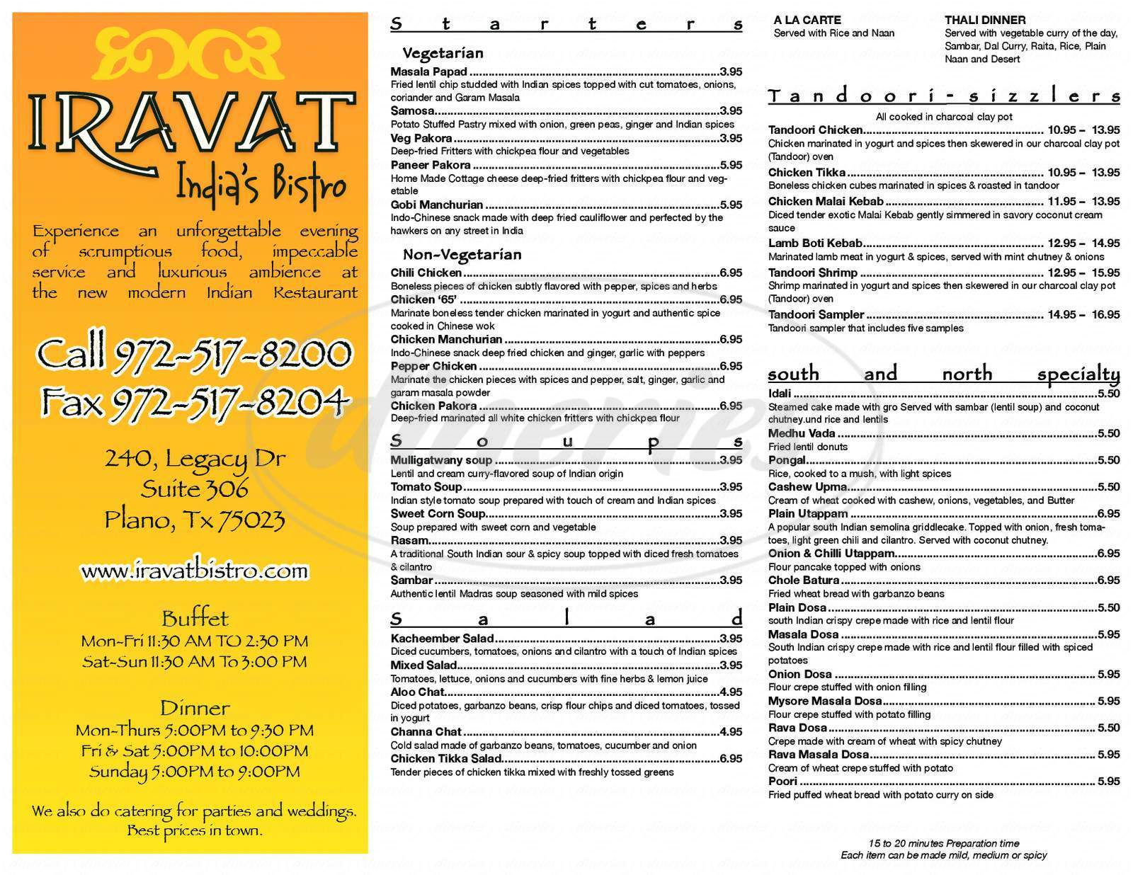 menu for Iravat India's Bistro